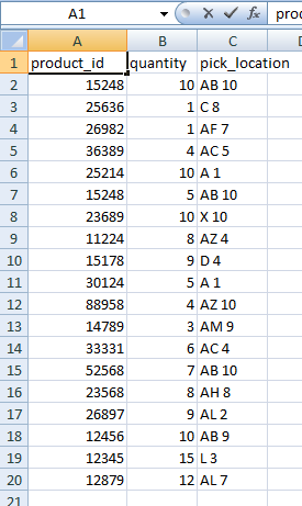 Unsorted Excel Data