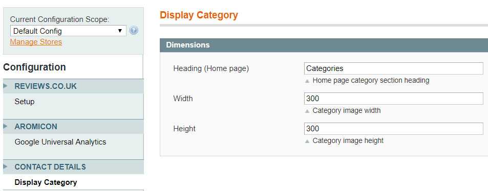 Display selected categories home page magento